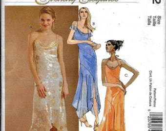 McCall's M4832 Evening Elegance Evening Dress Bias, Loose Fitting, Flared Shaped Hemline Sewing Pattern 4832 Size 8, 10, 12, 14