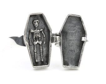 Coffin Poison Ring, Sterling Silver Poison Ring, Skeleton, Locket Ring, Cross Ring, Skull