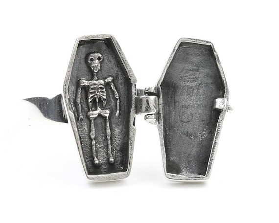 Coffin Poison Ring, Sterling Silver Poison Ring, Skeleton, Locket Ring, Cross Ring, Skull