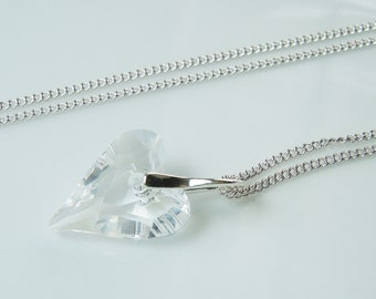 "Swarovski Crystal ""Wild Heart"" Pendant Necklace on Silver Chain  Makes a Perfect Gift"
