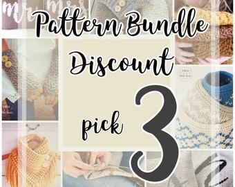Crochet Pattern Bundle {3}, choose any 3 patterns, crochet pattern discount, crochet pattern deal