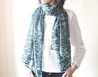 green chiffon scarf print scarf soft scarf green scarf lightweight scarf long scarf leopard scarf animal print scarf summer scarf wife gift