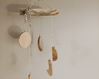 Moon Phase Mobile | Wood Mobile | Baby Mobile | Natural Mobile