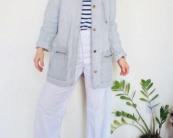 Denim chore coat grey jean chore coat 90s chore coat Vintage denim jacket jean jacket long denim coat vintage chore coat large denim 90s