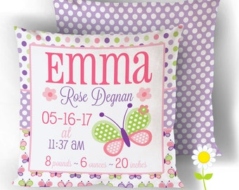 Butterfly Birth Stats Pillow Cover - Personalized Birth Announcement Throw Pillow - Custom Baby Name Cushion Cover - Butterfly Nursery Decor