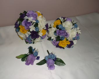 Pre made Purple/Yellow/Lilac/Ivory Bridesmaid Bouquets