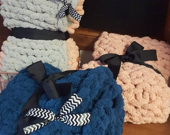 Hand knitted children's snuggle blanket