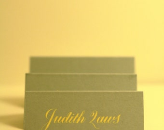 Wedding name place cards in Copperplate - yellow on grey