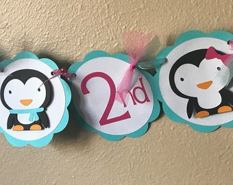 Penguin Party Banner, Penguin Birthday Party, Penguin Party Decoration, Winter Party Banner, Penguin Baby Shower, Penguin 2nd Birthday
