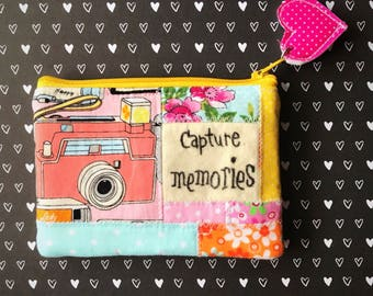 Cameras eco friendly patchwork zipper pouch, zippered wallet, coin pouch, inspirational change purse