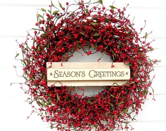 Christmas Wreath Winter Wreath Christmas Home Decor Holiday Wreath RED  Berry Wreath