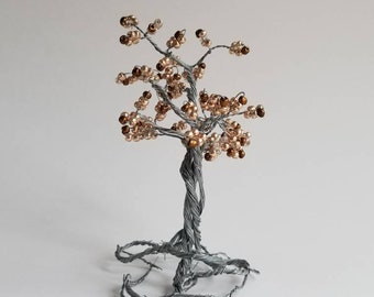 Golden colored wire tree sculpture, tree of life, golden tree sculpture, autumn tree, tree of life sculpture, beaded tree,