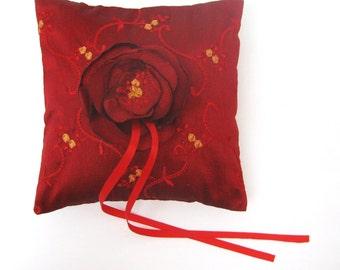 Wedding Ring Bearer Pillow Golden Flowers on Magenta Red