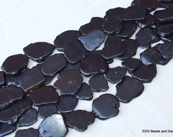 Black Magnesite Free Form Slab Stone Beads - Black - 35mm x 40mm - 15 inch Strand