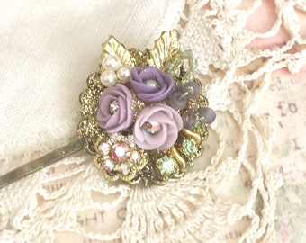 sweet antique brass bobby pin with Swarovski crystals and lavender purple porcelain flowers #1057-16