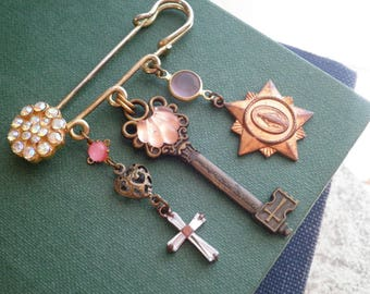 Vintage Key & Cross Charm Religious Brooch - Catholic Icon Charms Rhinstone Pin + Cross Jewelry Statement Assemblage Brooch Gift For Her