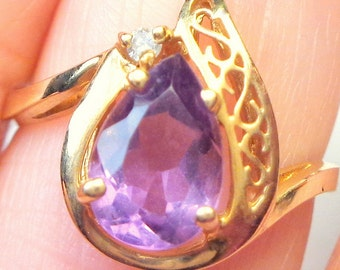 Sz 6 1/2, 14K Yellow Gold, Estate Diamond, Pear Cut Amethyst Ring,  Solitaire Ring, Solid Gold Ring