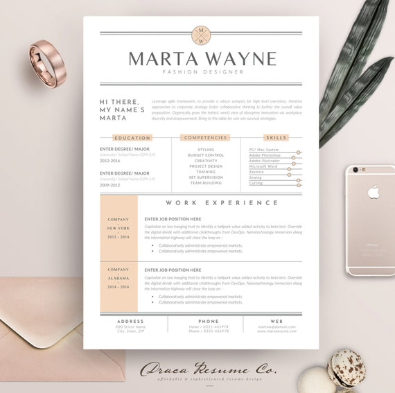 Resume Template 3 Pages For Fashion Designer Cv Template