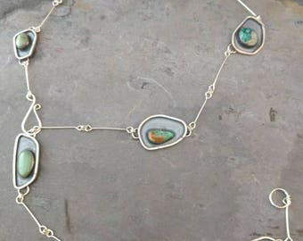 Turquoise and Sterling Silver Lariat Necklace