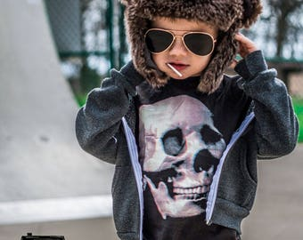 Skull Graphic Tee. Black Kids Tshirt. Child Sizes 2t 3t 4t & Youth XS-XL. Cool Kids Shirt.