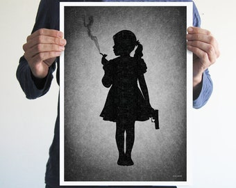 Kids today,girl,digital print,artwork,art,wall decor,home decor,silhouette,black and white,gothic art,victorian,horror,poster,print,skulls