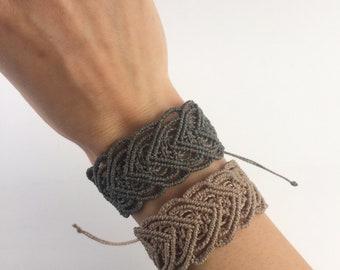 Macrame Cuff Bracelet with Heart Pattern