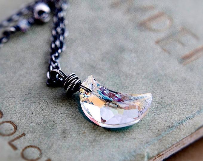 Crescent Moon,  Crystal Moon, Moon Necklace, Moon Pendant, Sterling Silver, Crystal Necklace, Crystal Jewelry, Night Sky, PoleStar