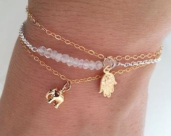 Gold Elephant  Bracelet. Gold Filled Bracelet. Elephant Charm Bracelet. Delicate Dainty Minimal . Good Luck Bracelet