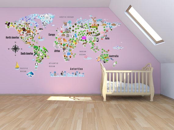 Animal map cultural world map wall decal reusable vinyl animal map cultural world map wall decal reusable vinyl fabric repositionable decal nursery room decals clear decals gumiabroncs Gallery