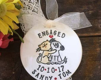 Personalized Engagement Ornament - Cat and Dog Couple - Engagement Gift - Wedding Gift - Gift for Couple