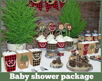 Lumberjack baby shower printable MEGA SET, Rustic woodland baby shower decorations, animal baby shower, buffalo plaid baby shower