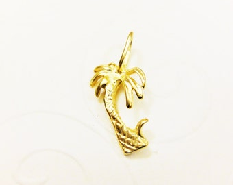 Vermeil, 18k gold over 925 sterling silver Palm tree, matte  gold palm tree, palm tree
