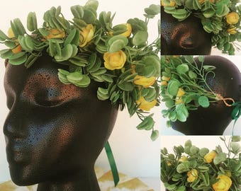 Green and Yellow Flower Crown (Adult)