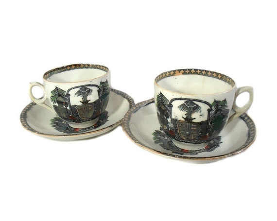 Antique English Ancient Order of Foresters Cups and Saucers
