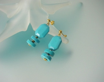 Turquoise and Gold Dangle Earrings - Genuine Gemstone & Vermeil Jewelry - Hand Made in USA