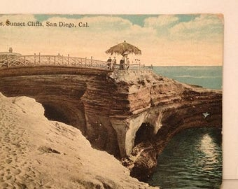 ON SALE Antique 1922 San Diego California CA The Caves Sunset Cliffs Postcard Old Vintage