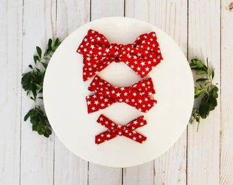 Red and White Stars Hand-tied Simple Fabric Bow Nylon Elastic or Alligator Clip