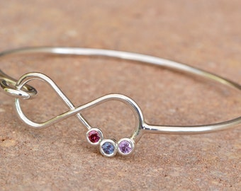 Mothers Day Gift, Infinity Bangle Bracelet, Infinity Birthstone Bracelet, Mothers Bracelet, Gift For Mom, Mothers Jewelry