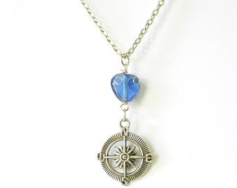 Wire Wrap Blue Bead Compass Charm Necklace, Nautical Jewelry, Wanderlust Traveler Necklace - Stocking Stuffer