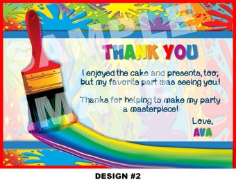 Art Party Thank You Note, Art Thank You Card, Painting Birthday Thank You, Paint Palette, Rainbow Party Artist Paint Colors - 2 Designs