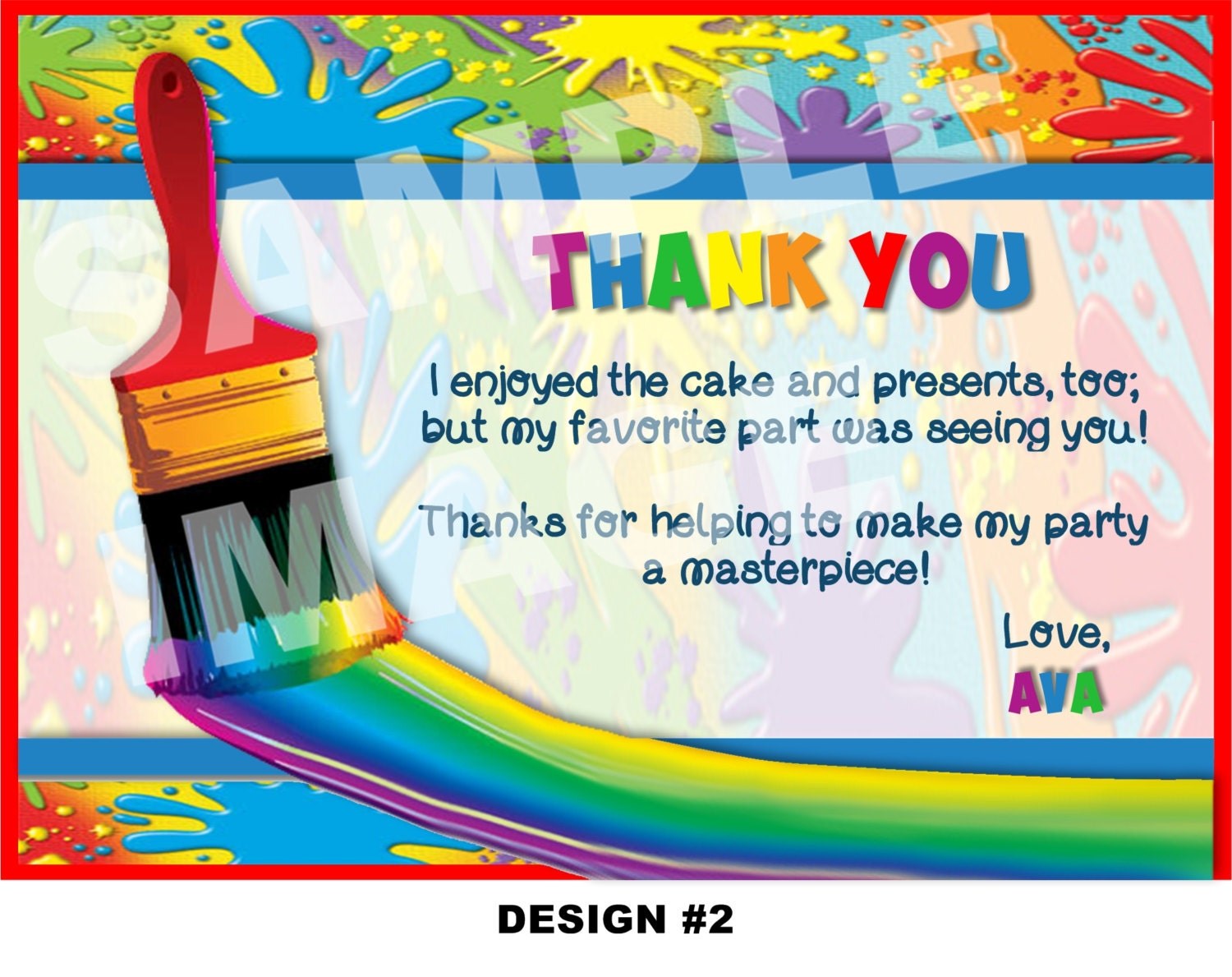 Art party thank you note art thank you card painting zoom kristyandbryce Choice Image