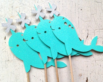 Glittery Festive Narwhal Party Picks | Set of 12