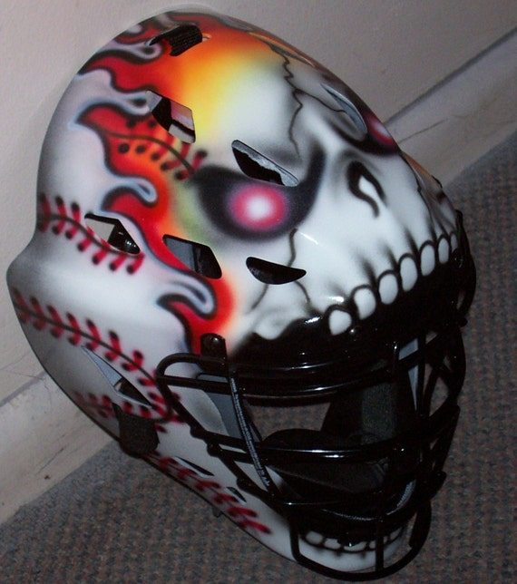 Airbrushed Flame Skull Catchers Helmet Rawlings Youth Or Adult