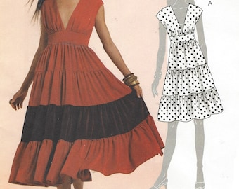 Womens Boho Tiered Dress in Two Lengths OOP McCalls Sewing Pattern M5842 Size 6 8 10 12 Bust 30 1/2 to 34 UnCut Sewing Patterns