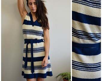 60s Evan Picone Sleeveless Striped Coastal Sweater Dress, Sz S/M 38