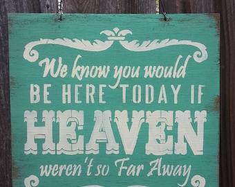 if heaven wasnt so far away, Heaven Sign, wedding sign, wedding decor, wedding decoration, rustic wedding, rustic memorial sign, 86/76