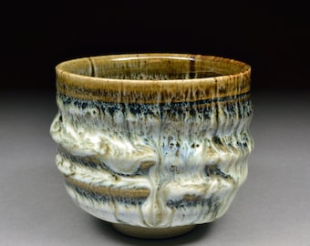 Smaller Robust Handmade Tenmoku and Nuka Glazed Yunomi Tea Cup with Unique One of a Kind Glaze finish.