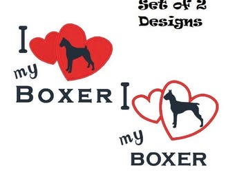 Boxer Machine Embroidery Designs Filled Stitch and Applique Embroidery Designs Dogs Instant Download 4X4 5X7 6X10 8X8 Pes