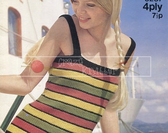 Lady's Ribbed Vest  4-ply 32-38in Sirdar 5287 Vintage Knitting Pattern PDF instant download