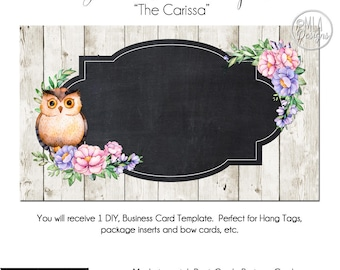 Owl Business Card Template - The Carissa, Owl Template, Business Card, Owl Hang Tag, Template, DIY Card, Watercolor Owl Card